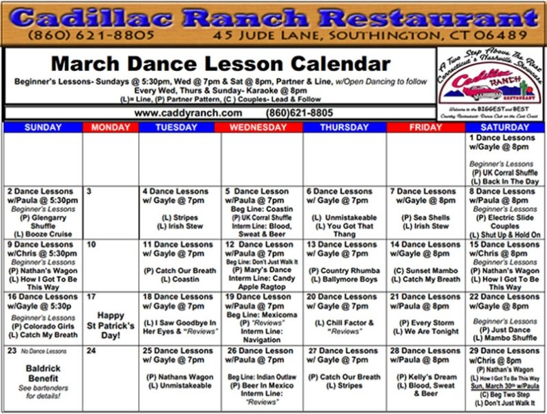 Weekly Dance Calendar for March 2014