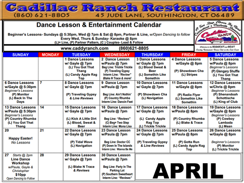 Weekly Dance Calendar for April 2014