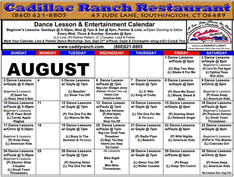 Weekly Dance Calendar for July 2014