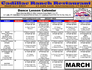 Cadillac Ranch Dance Schedule for March 2016