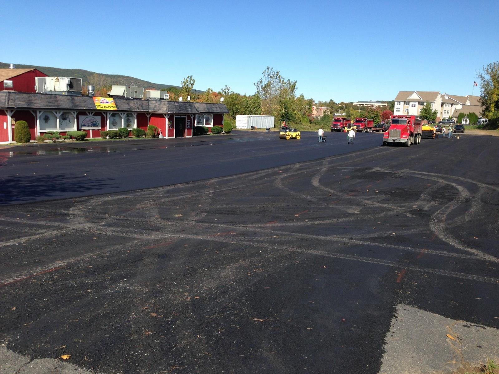 Paving the parking lot at the Cadillac Ranch Restaurant