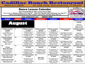 Cadillac Ranch Dance Calendar for August 2015