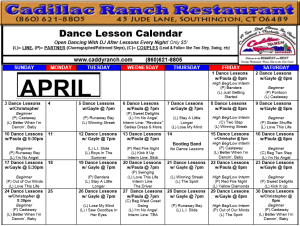 Cadillac Ranch Dance Schedule for April 2016