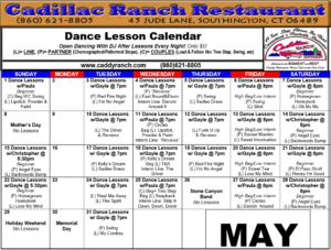 Cadillac Ranch Dance Schedule for May 2016