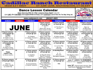 Cadillac Ranch Dance Schedule for June 2016