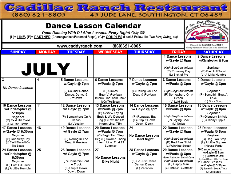 Cadillac Ranch Dance Schedule for July 2016