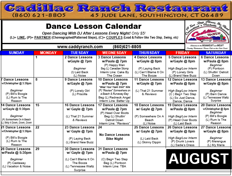 Cadillac Ranch Dance Schedule for August 2016