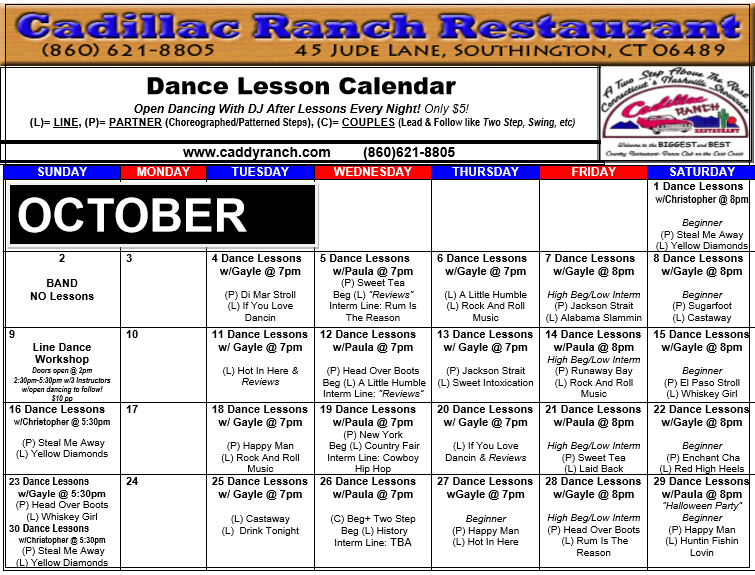 Cadillac Ranch Dance Schedule for October 2016