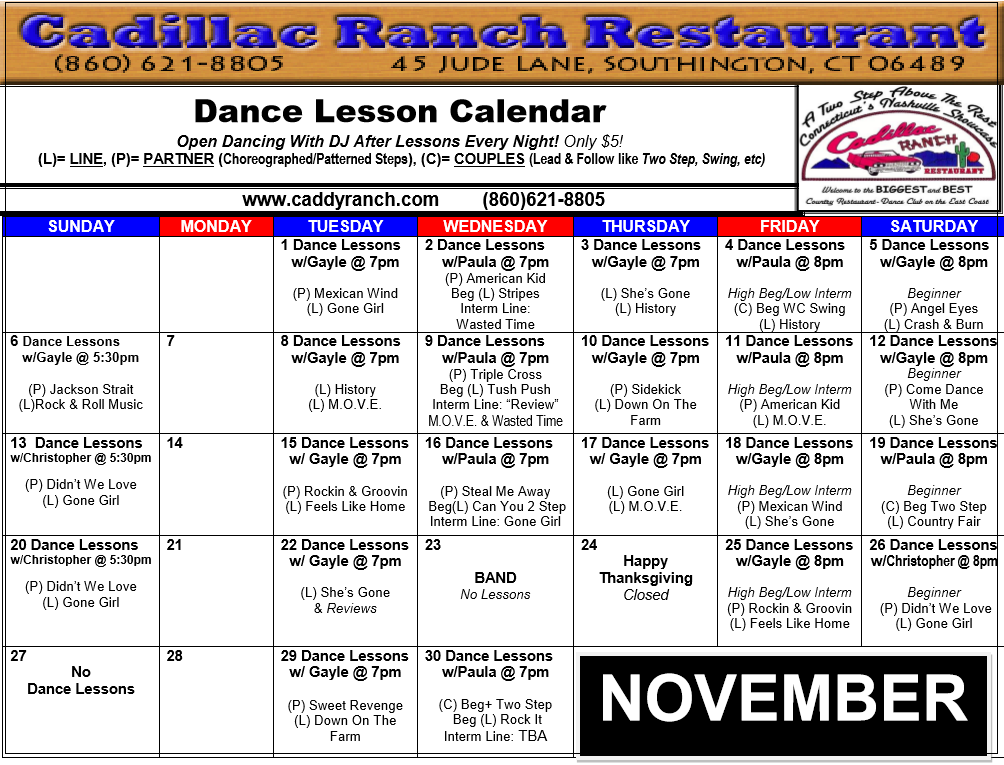Cadillac Ranch Dance Schedule for November 2016