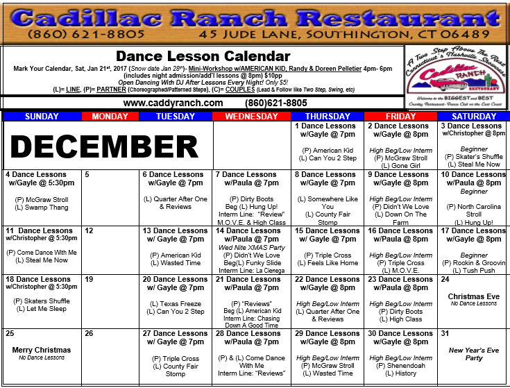 Cadillac Ranch Dance Schedule for December 2016