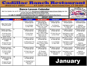 Cadillac Ranch Dance Schedule for January 2017