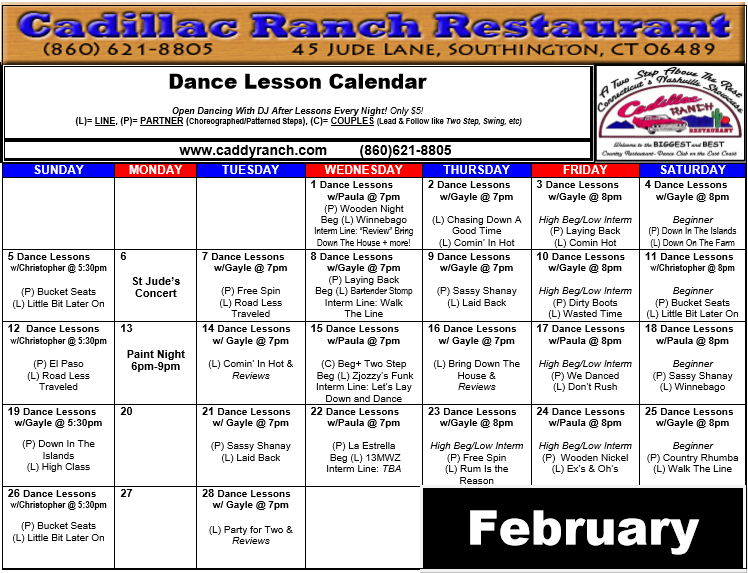 Cadillac Ranch Dance Schedule for February 2017