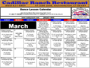 Cadillac Ranch Dance Schedule for March 2017