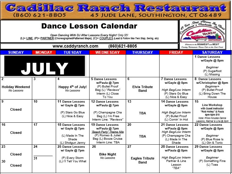 July2017 Dance Calendar – Cadillac Ranch Restaurant
