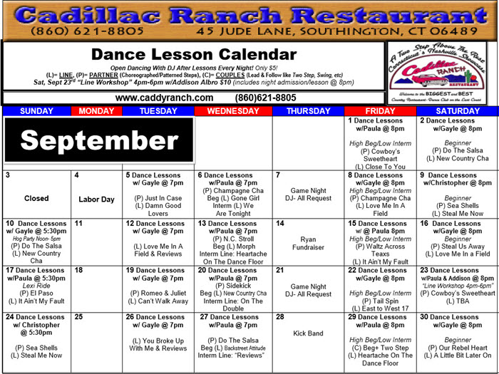 September2017 Dance Calendar - Cadillac Ranch Restaurant