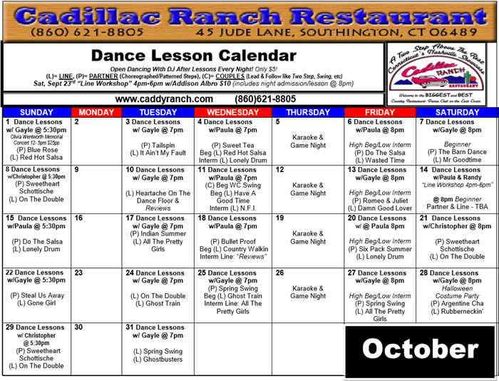 October2017 Dance Calendar - Cadillac Ranch Restaurant