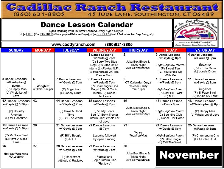 November 2017 Dance Calendar - Cadillac Ranch Restaurant