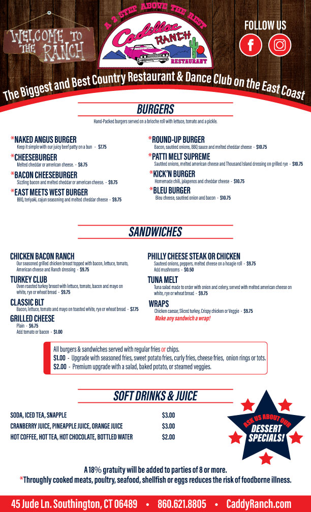 Cadillac Ranch Restaurant Menu Page 2