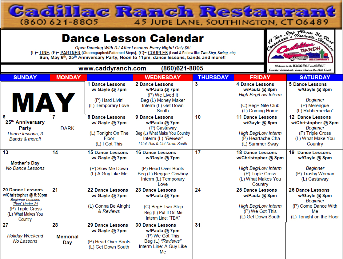 Cadillac Ranch Restaurant Dance Schedule May 2018